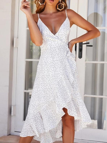 Polka Dot Asymmetrical Wrap Dress