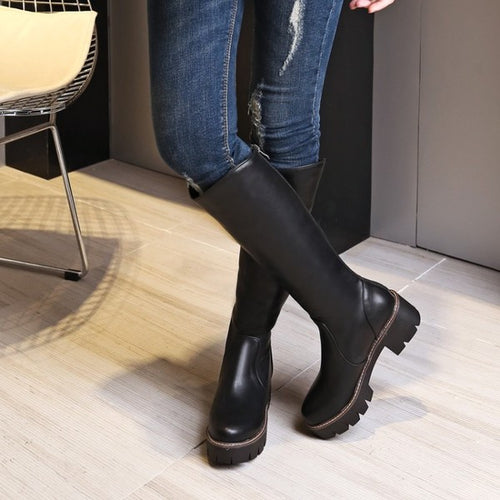 Faux Leather Knee-high Platform Boots