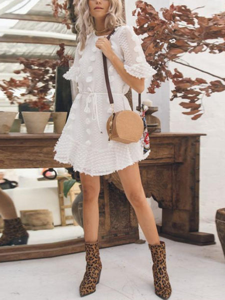 White Frills Mini Dress