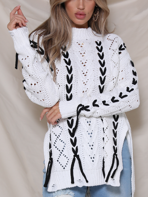 V Lace Up Oversize Sweater