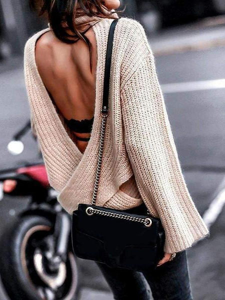Scoop Back Knitted Sweater