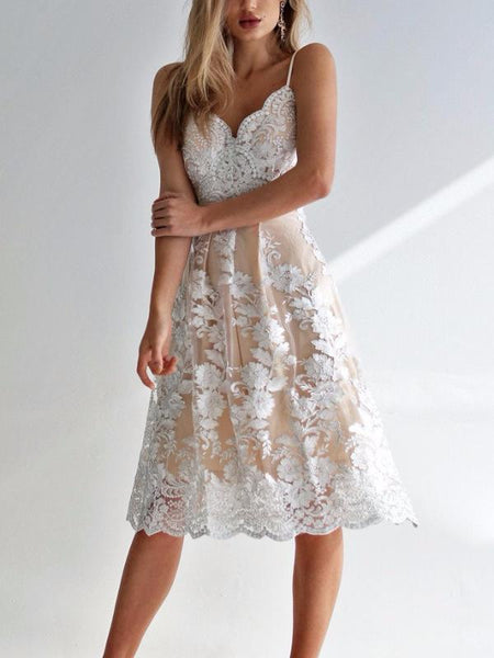 Delicate Lace Floral Flare Dress