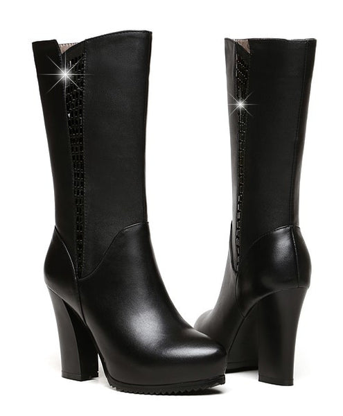 Mid-Calf Leather Boots