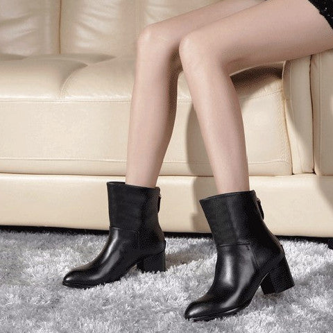 Cowboy Zipper Leather Ankle Boots