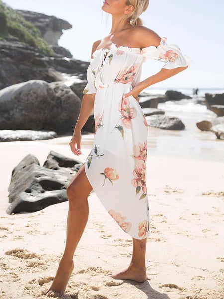 Off Shoulder Floral Frills Dress