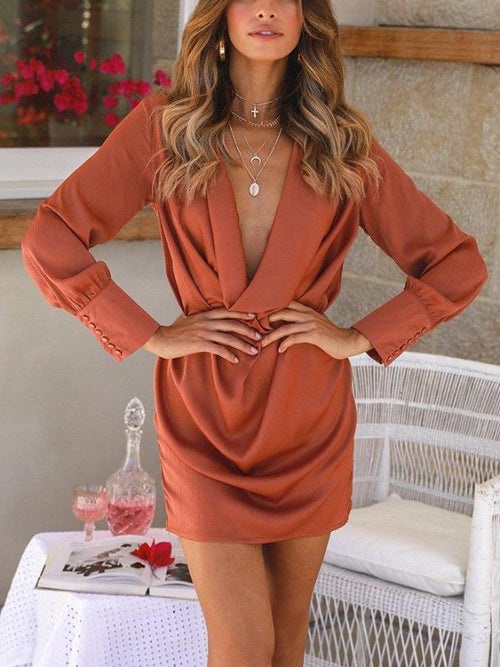 Satin Draped Shirt Dress