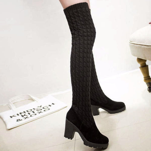 Knitted Thigh-high Boots