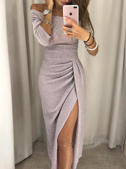 Glitzy Off Shoulder Split Dress