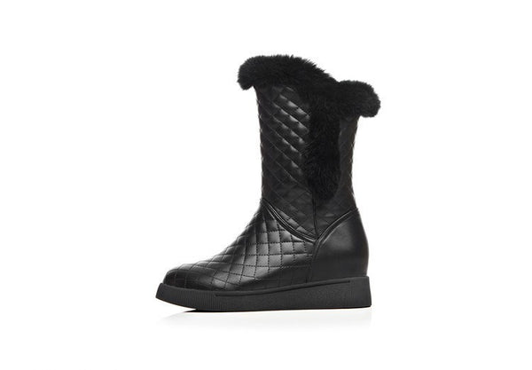 Quilted Zip-up Furry Boots