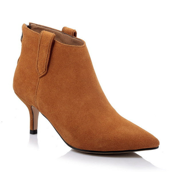 Pointy Suede Ankle Heel Boots