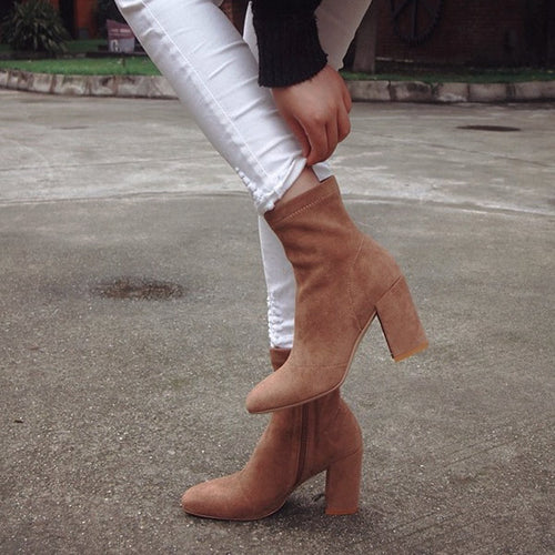 Pointy High-heeled Zip-up Suede Boots