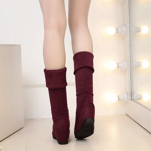 Knee High Stretchy Fold Wedge Boots