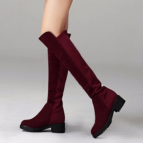 Knee-high Faux Suede Two-tone Boots