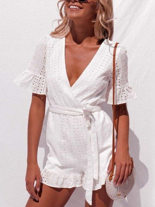 Eyelet Ruffle Playsuit