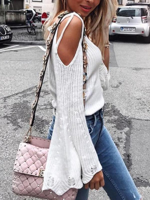 Tie Cold Shoulder Sweater
