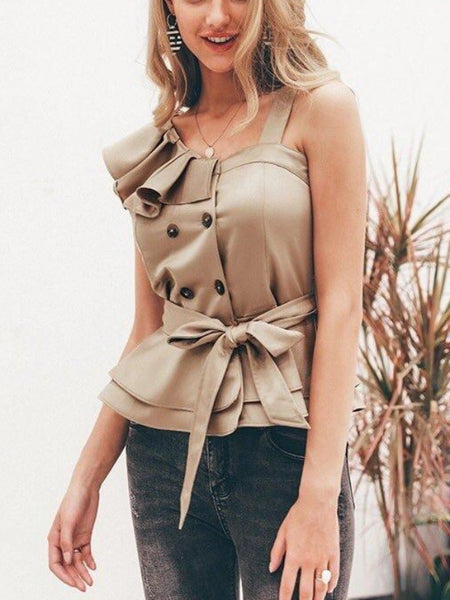Ruffle Trench Blouse