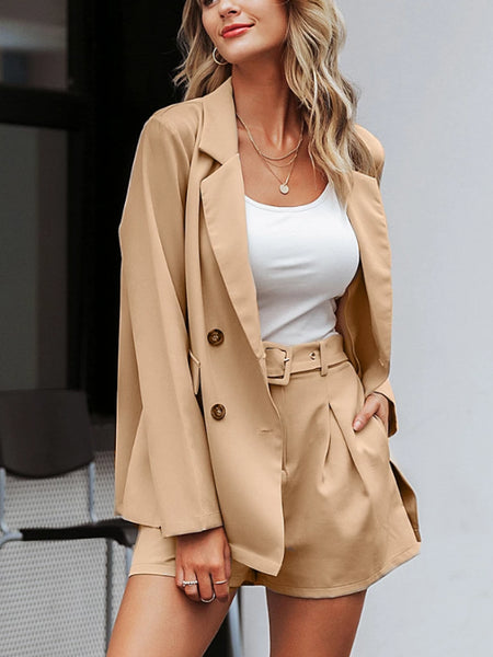Khaki Blazer Shorts Set