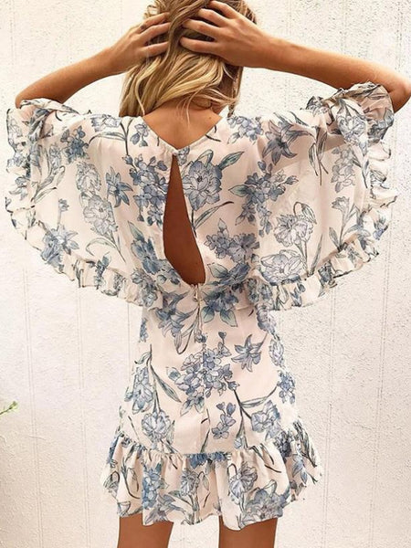 Porcelain Floral Mini Dress