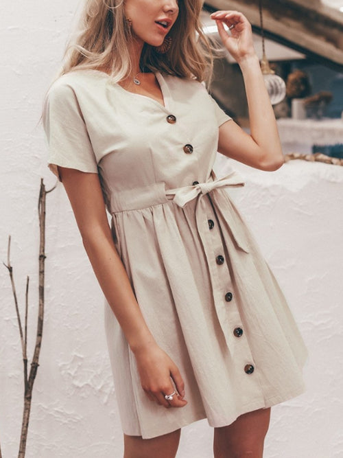 Linen Button Up Mini Dress