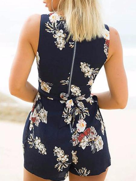 Navy Sleeveless Floral Playsuit