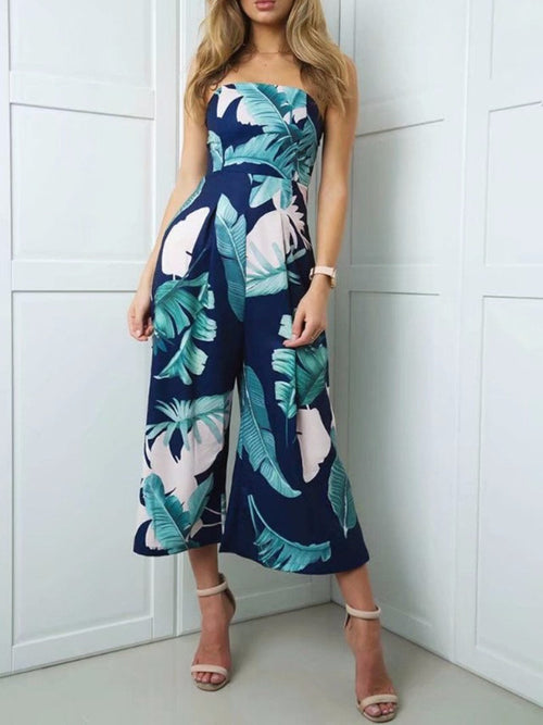 Tropical Leafy Flare Pants Tube Jumpsuit