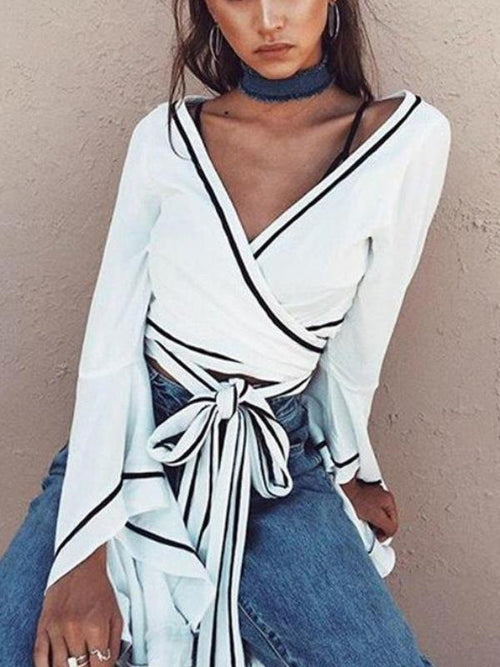 Outlined Wrap Blouse