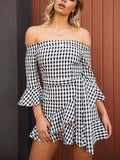 Off Shoulder Gingham Dress