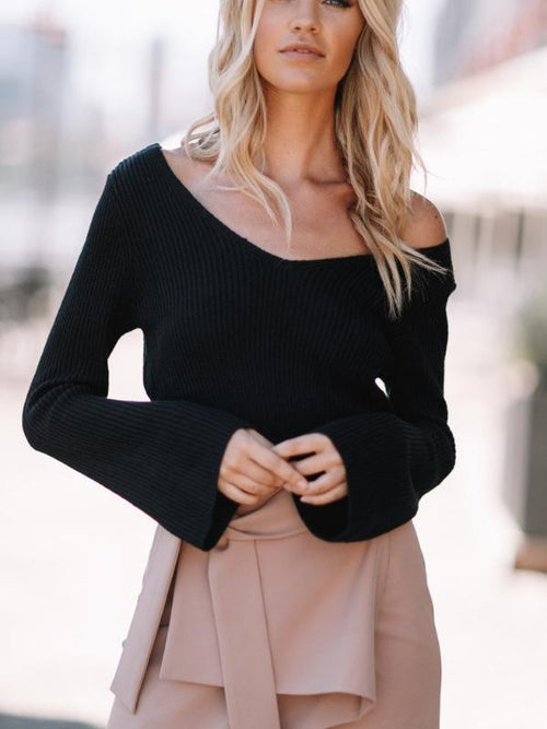 V Neck Crop Sweater