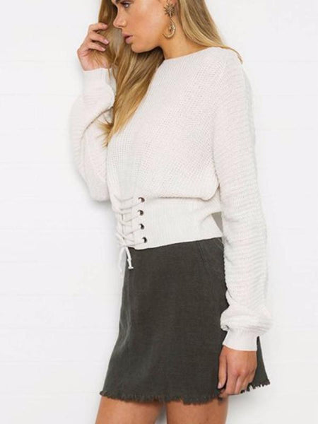 Laced Hem Knitted Sweater