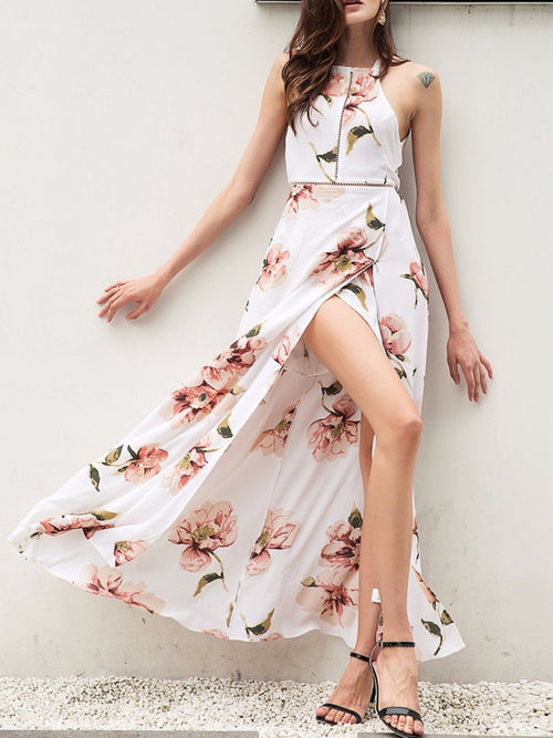 Peony Bareback High Slit Maxi Dress