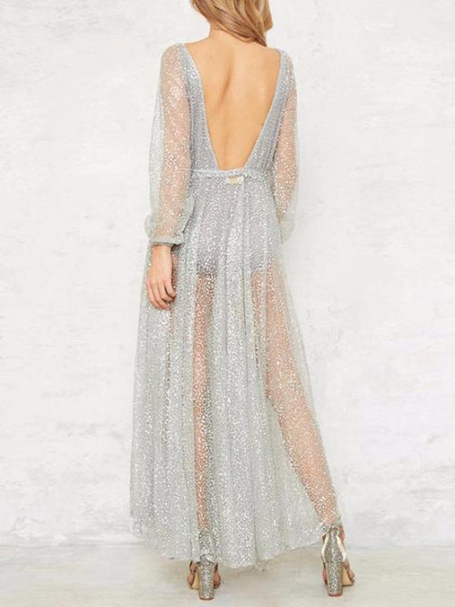 Glittery Playsuit Maxi Dress