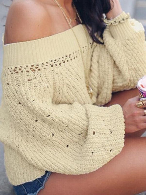 Off Shoulder Flare Sweater
