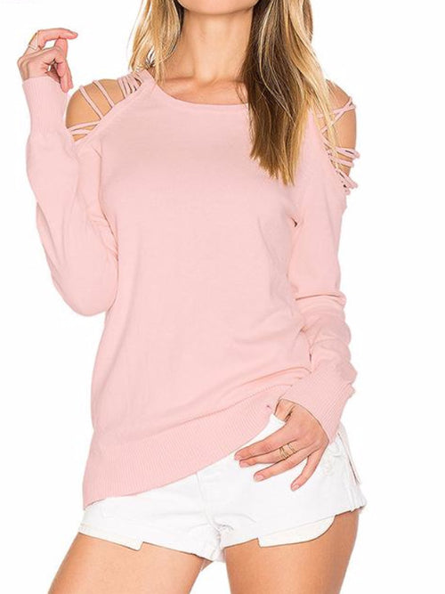Pink Strappy Shoulder Sweater