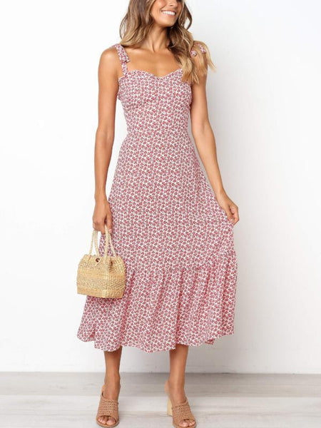 Red Blossom Midi Dress