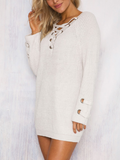 Lace Up Mini Dress Sweater
