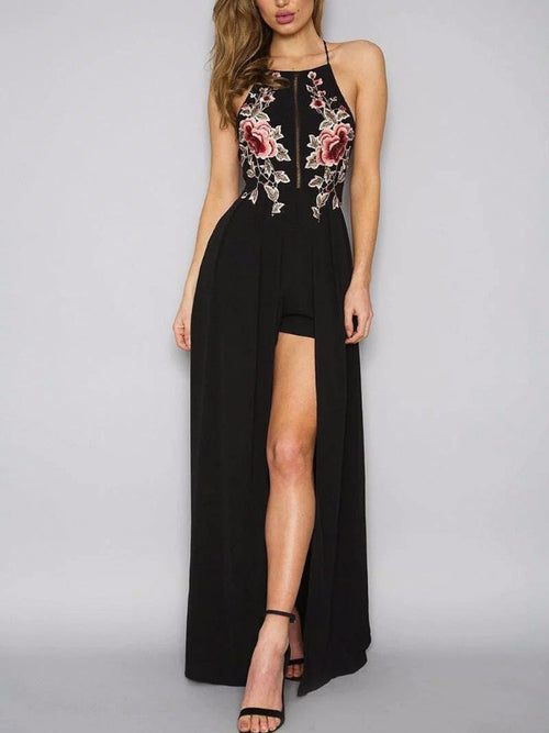 Floral Embroidery Cape Playsuit