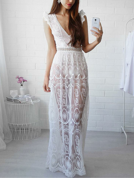 Backless Lace Maxi Dress