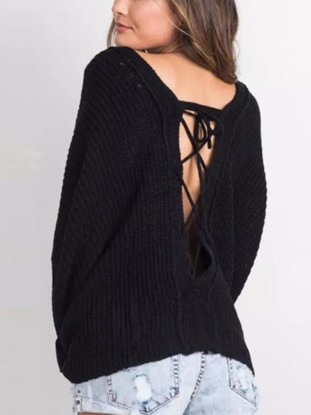 Deep V Back Sweater