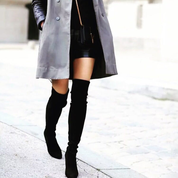 Faux Suede Draw-string Thigh-high Boots