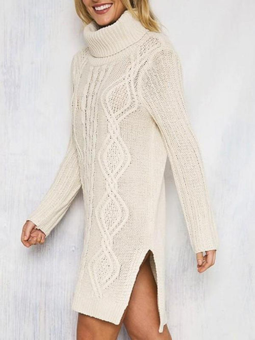 Turtleneck Aztec Knitted Long Sweater