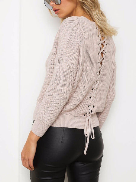 Lace Up Knitted Pullover