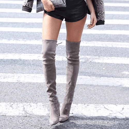 Faux Suede Thigh-High Heel Boots