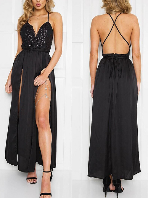 Sequin Satin Bodysuit Maxi Dress