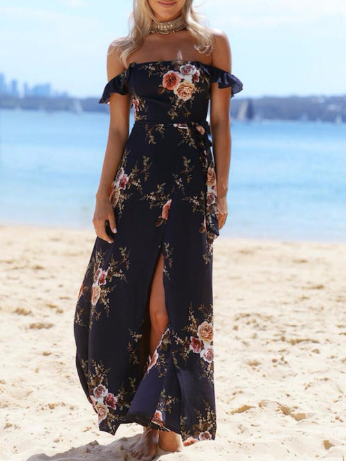 Off Shoulder Garland Maxi Dress