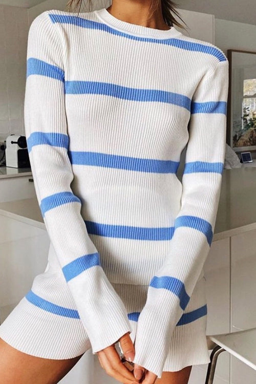 Blue Stripes Knitted Set