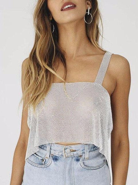 Backless Rhinestone Crop Top