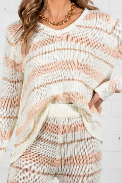 Peach Stripes Lounge Set