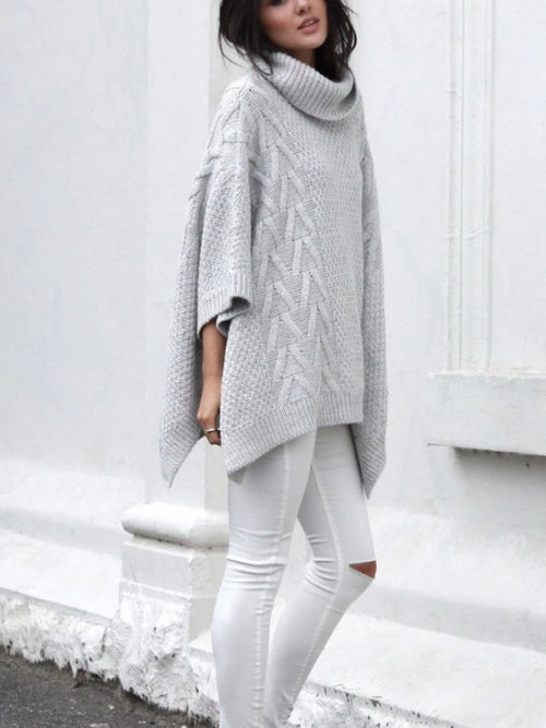 Knitted Turtleneck Poncho
