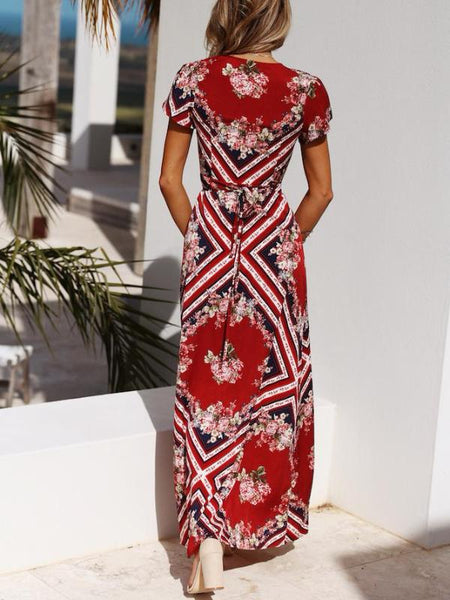 Red Ikat Wrap Maxi Dress