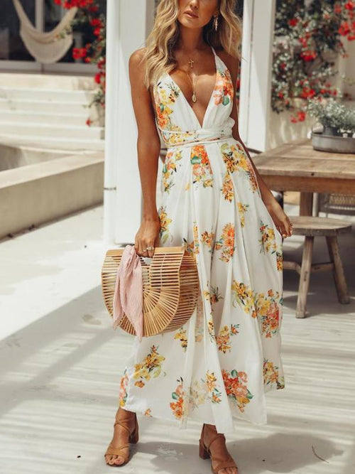 Destin White Floral Jumpsuit